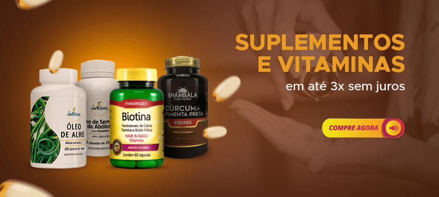 Suplementos e vitaminas em até 3x sem juros