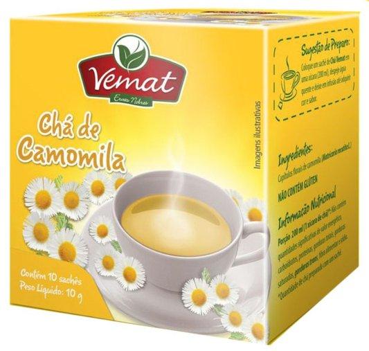 Chá de Camomila com 10 Sachês Vemat 10g