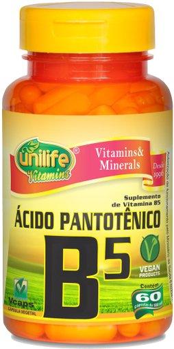 Ácido Pantotênico Vitamina B5 500mg Unilife 60 Cápsulas