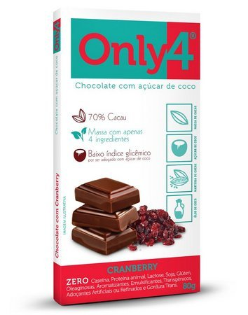 Barra de Chocolate 70% Cramberry Only4 80g