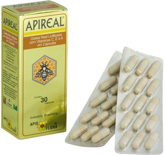 Apireal Geleia Real Natural Liofolizada Apis Flora 30 Cápsulas