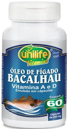 Óleo de Fígado de Bacalhau Vitamina A e D 350mg Unilife 60 Cápsulas