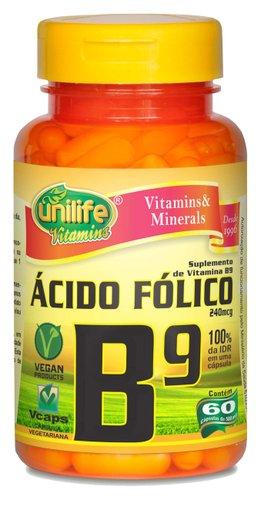 Vitamina B9 Ácido Fólico 500mg Unilife 60 Cápsulas