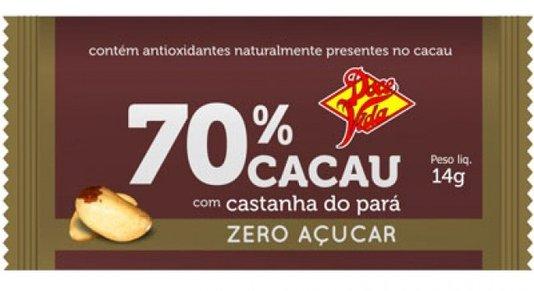 Barra de Chocolate 70% Cacau  com Castanha Zero Doce Vida 14g