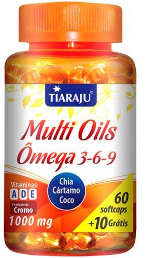 Ômega 3 6 9 Multi Oils 1000 mg Tiaraju 60 + 10 Cápsulas
