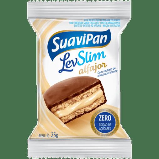 Alfajor LevSlim Zero Açúcar sabor Recheio Chocolate ao Leite Suavipan 25g