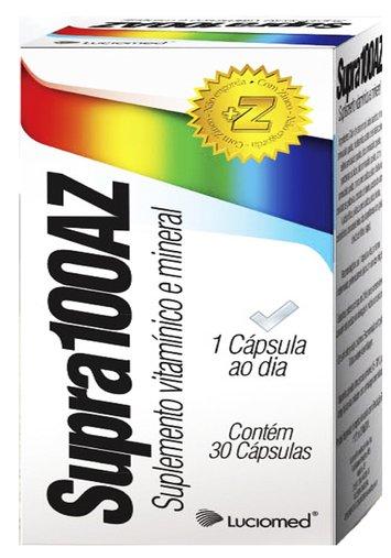 Supra 100AZ  Suplemento Vitamínico e Mineral 1000mg Luciomed 30 Cápsulas