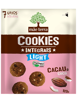 Mini Cookie Orgânico Integral Light Cacau e Coco Mãe Terra 120g