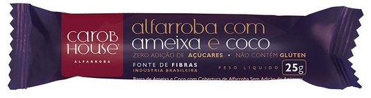 Alfarroba com Ameixa e coco Zero açúcar Sem Glúten e Lactose Carob House 25g