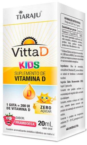 Vitta D Kids 1 gota 200 UI Sabor Framboesa Tiaraju 20mL