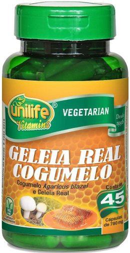 Geleia Real com Cogumelo do Sol 780mg Unilife 45 Cápsulas