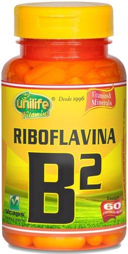 Riboflavina - Vitamina B2 500mg Unilife 60 Cápsulas