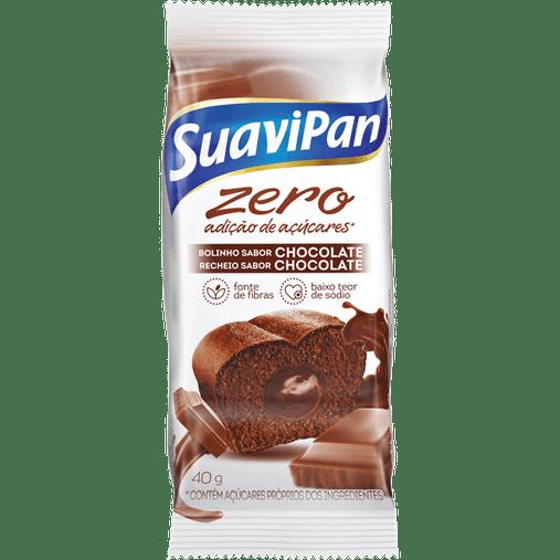 Bolinho Zero Açúcar sabor Chocolate com Recheio de Chocolate Suavipan 40g