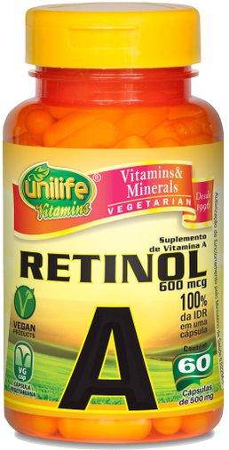 Retinol Vitamina A 500mg Unilife 60 Cápsulas