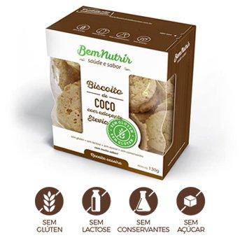 Biscoito de Coco sem Glúten sem Lactose Zero Açúcar Bem Nutrir 150g