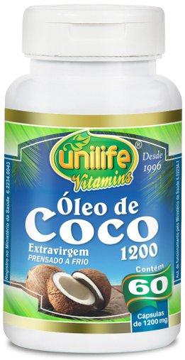 Óleo de Coco 1200mg Unilife 60 Cápsulas