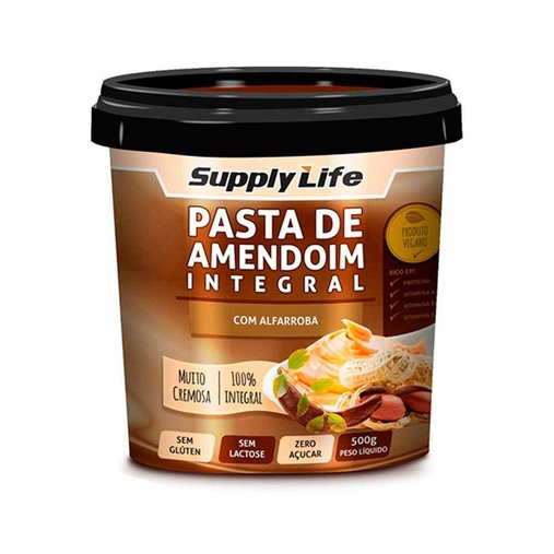 Pasta de Amendoim Integral com Alfarroba Supply Life 120g