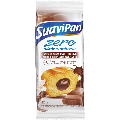 Bolinho Zero Açúcar sabor Baunilha com Recheio de Chocolate Suavipan 40g