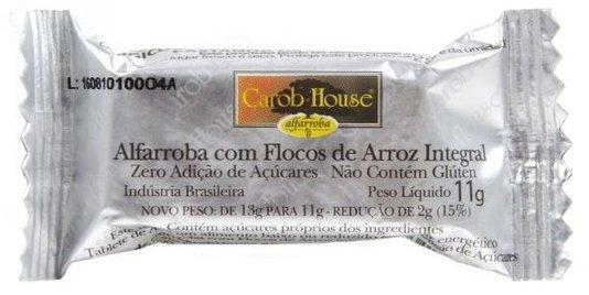 Barra de Alfarroba Crocante Zero Açúcar Sem Lactose e Glúten Carob Hause 11g