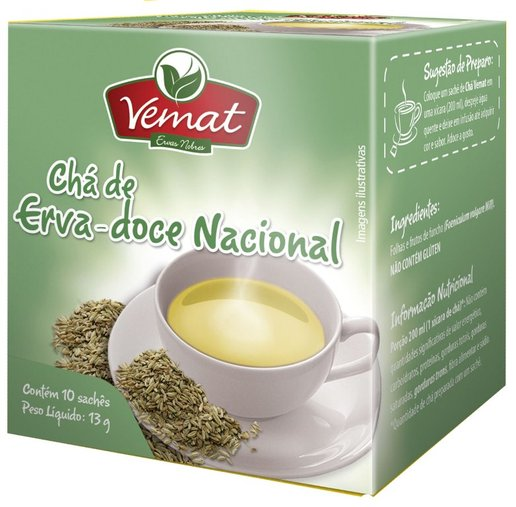 Chá Erva Doce Nacional com 10 Sachês Vemat 13g