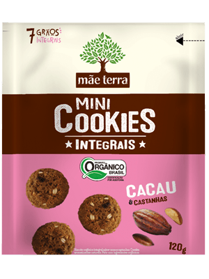Mini Cookie Orgânico Integral Cacau e Castanhas Mãe Terra 120g
