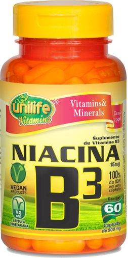 Niacina - Vitamina B3 16mg Unilife 60 Cápsulas