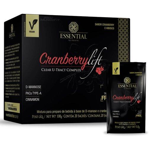 CranberryLift Sabor Cranberry e Hibiscos Essential Nutrition 20 Sachês de 5g