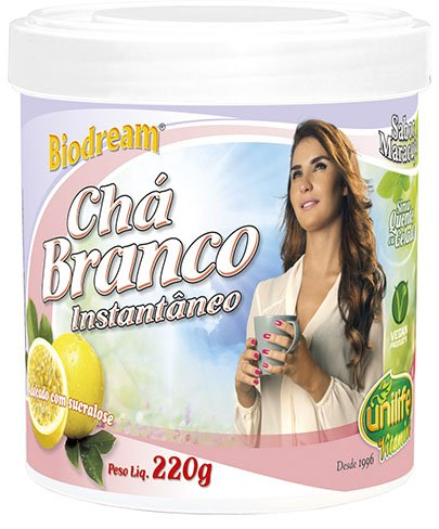 Chá Branco Solúvel Instantâneo Sabor de Maracujá Biodream Unilife 220g