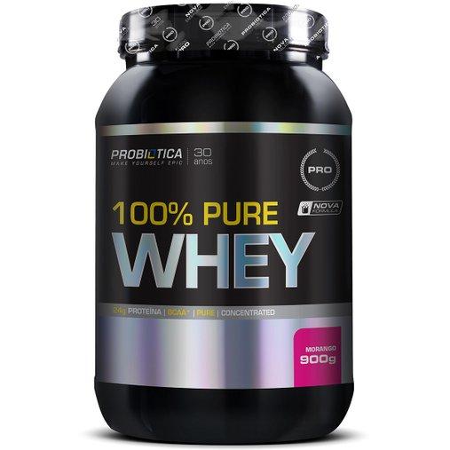 100% Whey Protein Morango Probiótica 900g
