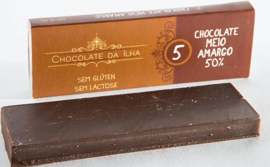 Barra de Chocolate 50% Sem Glúten Sem Lactose Chocolate da Ilha 27g