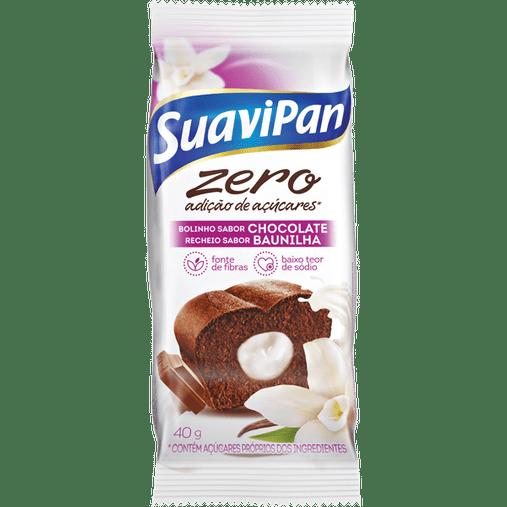 Bolinho Zero Açúcar sabor Chocolate com Recheio de Baunilha Suavipan 40g