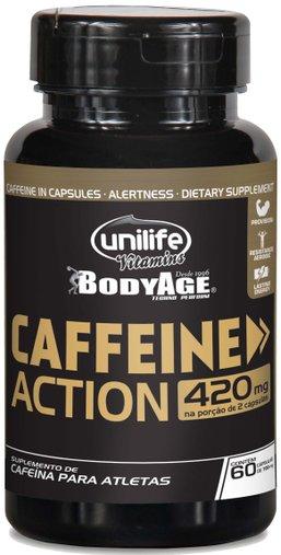 Caffeine Action Cafeína para Atletas 420mg Unilife 60 Cápsulas