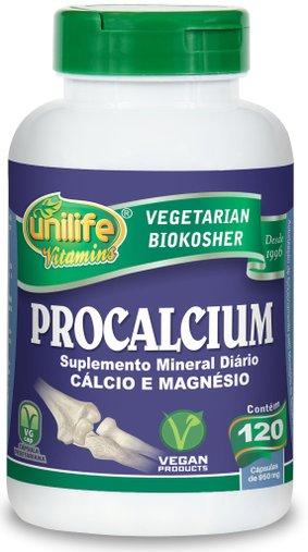 Procalcium Cálcio e Magnésio 950mg Unilife 120 Cápsulas