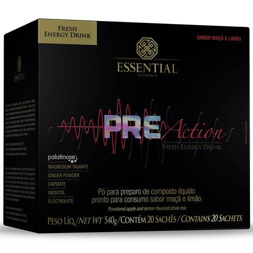 Pre-Action Energy Drink Apple Lemonade Essential Nutrition 20 sachês 540g