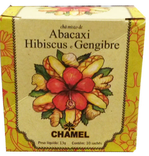 Abacaxi Hibiscus e Gengibre Chamel 10 Sachês 13g