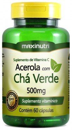 Chá Verde Com Acerola 500mg Maxinutri 60 Cápsulas