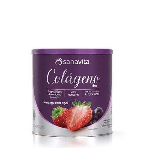 Colágeno Hidrolisado sabor Morango e Açaí Sanavita 300g