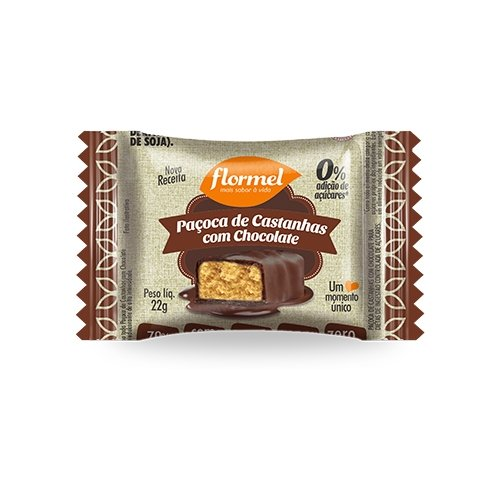 Paçoca de Castanha de Caju com Chocolate Zero Açúcar Flormel 22g