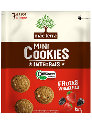 Mini Cookie Orgânico Integral Frutas Vermelhas Mãe Terra 120g