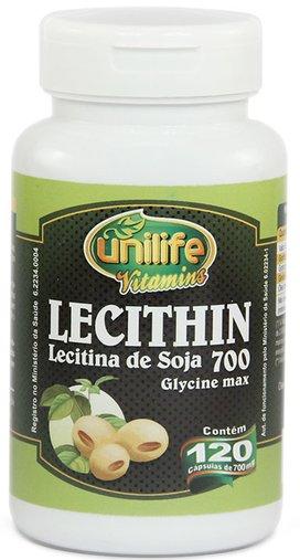 Lecithin Lecitina de Soja 700mg Unlife 120 Cápsulas