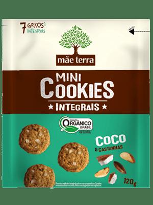 Mini Cookie Orgânico Integral Coco e Castanha do Pará Mãe Terra 120g