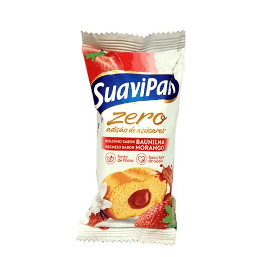 Bolinho Zero Açúcar Baunilha com Recheio de Morango Suavipan 40g