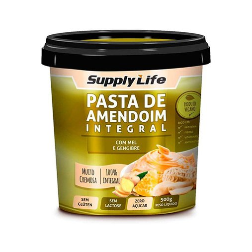 Pasta de Amendoim Integral com Mel e Gengibre Supply Life 120g