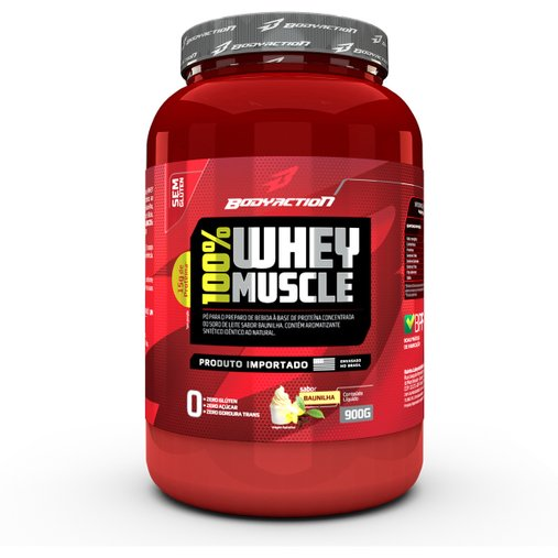 100% Whey Muscle Baunilha Body Action 900g