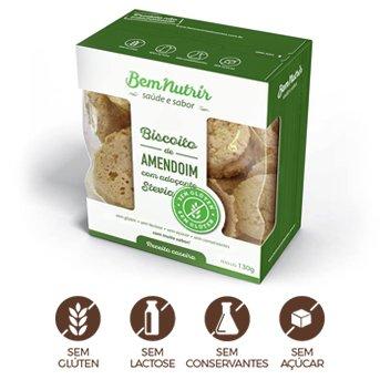 Biscoito de Amendoim com Stévia Sem Glúten Sem Lactose Zero Açúcar Bem Nutrir 150g