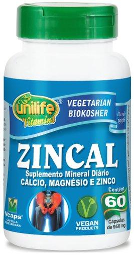 Zincal Suplemento Mineral Cálcio Magnésio e Zinco 950mg Unilife 60 Cápsulas