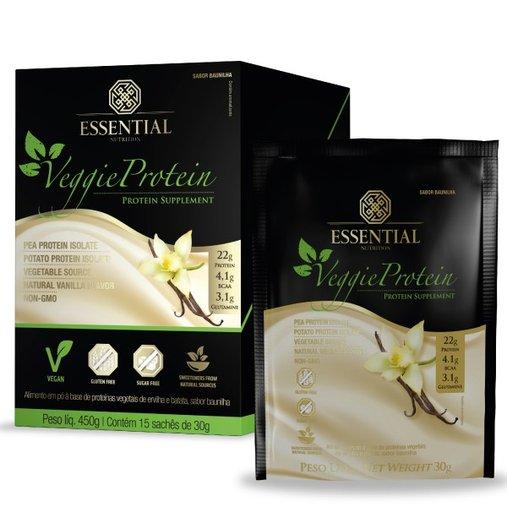 Veggie Protein Baunilha Proteína 100% Vegetal Essential Nutrition Sache 30g