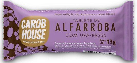 Alfarroba com Uva Passas Zero Açúcar Sem Lactose e Glúten Carob Hause 11g
