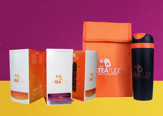 Kit Blogueira: 1 Bolsa + 1 Copo + 3 caixas Ateatude