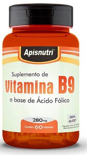 Vitamina B9 Ácido Fólico 280mg Apis Nutri 60 Cápsulas